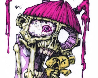 Zombie Girl and Teddy Scare  - 29.7cm x 21cm signed art print