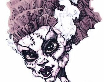 Frankenstein's Bride - 29.7cm x 21cm signed art print