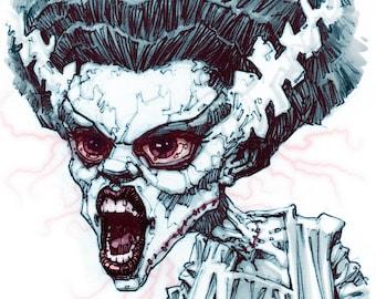 The Bride of Frankenstein  - 29.7cm x 21cm signed art print