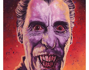 Sir Christopher Lee as Count Dracula - 42cm x 30cm signed art print