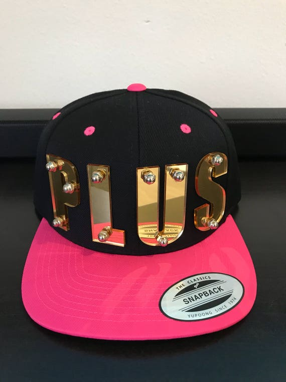 PLUS custom 3d gold mirrored acrylic snapback cap hat bolted  1b020b6cab8