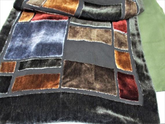 """Elegant Vintage Velvet Color Block Scarf Long 10"""""""