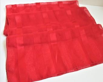 Christmas Red Long Designer Scarf Satin Striped Geometric Long Neck Head Scarf Vintage