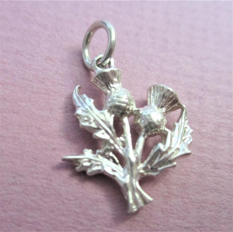 Scottish Thistle Charm Vintage Silver Travel Souvenir Charm Scottish Flower Thistle Tourist Charm Vintage Tourist Momento Scotland