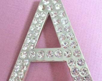 Large Rhinestone Initial Lapel Pin Letter A Brooch Vintage Jewelry Rhinestone Letter A Monogram