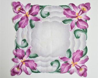 Fabulous Orchid Print Handkerchief Vintage Hankie Hanky Purple Floral on White Cotton Scalloped Edges Pocket Accessory