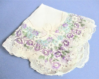 Vintage Violet Floral Handkerchief Printed Purple Flowers Ribbon Motif Semi Sheer Hankie Pocket Accessory Vintage Textile Scalloped Edges