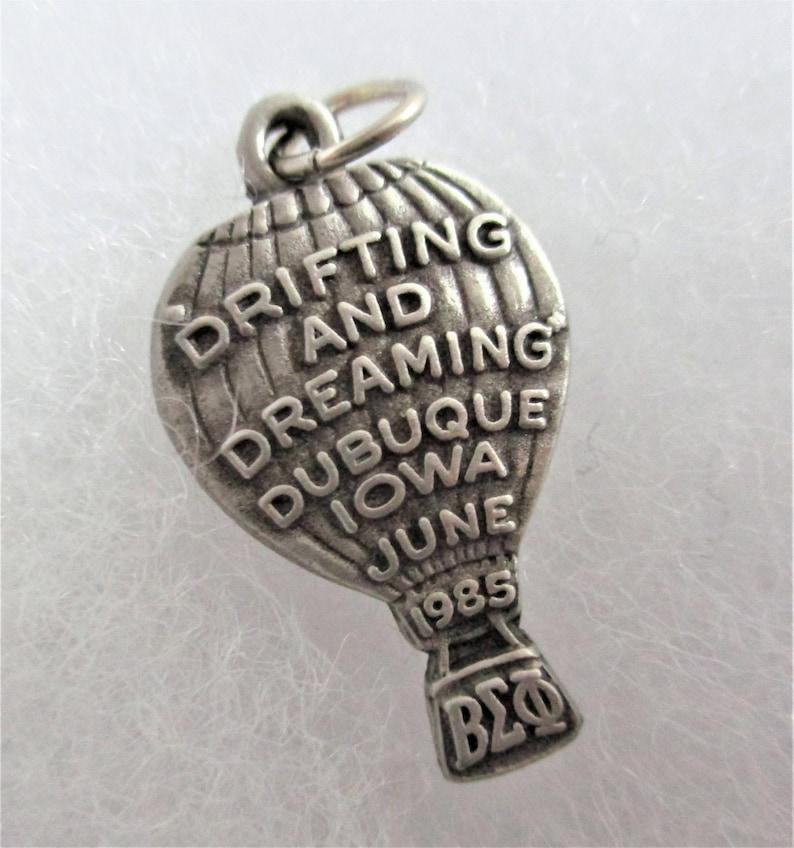 Balfour Vintage Charm Pewter Bracelet Charm Beta Sigma Phi Sorority Charm Iowa Convention 1985 Souvenir Keepsake Gift Bracelet Charm