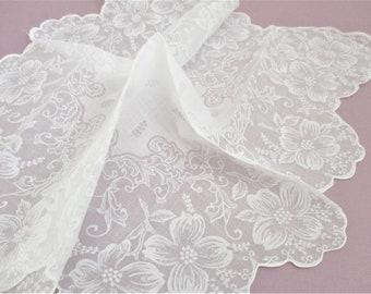 Vintage White Flocked Organdy Handkerchief White on White Hankie Scalloped Edges White Organza Wedding Bridal Accessory Vintage Textile