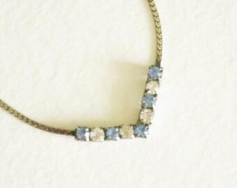 Blue Rhinestone Choker Bridal Wedding Jewelry Evening Necklace Lt Blue Clear Austrian Crystal Silver Chain Jewelry Vintage Accessory