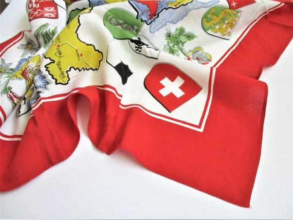 Switzerland Souvenir Scarf Large Vintage Scarf Ma… - image 9
