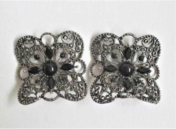 Black /& Silver Rectangular Musi Shoe Clips