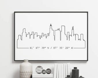 Custom City Skyline U0026 Coordinates Poster, Unframed, Housewarming Gift, Gift  For Him, Gift For Brother, Apartment Decor, Modern Wall Art