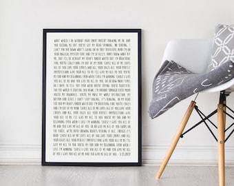 Custom Song Lyric Poster, Unframed, First Anniversary Paper Gift, Anniversary Gift, Wedding Song Gift, Song Lyrics Gift, Gift for Him