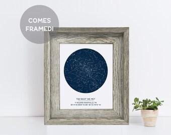 Framed Star Map, Personalized Constellation Print, Rustic Home Decor, Nursery Decor, Starry Night Art, Custom Night Sky Print