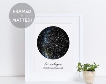 Framed Custom Constellation Map, Night Sky Print, Framed Night Sky Print, Personalized Night Sky, Gift for Him, Gift for Her, Wedding Gift
