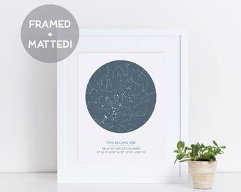 Custom Framed Star Map, Night Sky Print, Father's Day Gift, Gift for Him, Star Print, Celestial Art, Constellation On Date, Night Sky Art