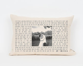 Personalized Song Lyric Gift, 2nd Anniversary Cotton Gift, Photo Pillow, Wedding Gift Husband, Cotton Present, Anniversary Gift