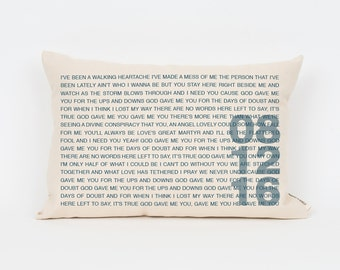 2nd Anniversary Gift, Cotton Anniversary, Gift for Her, Anniversary Gift, Wedding Song Art, Wedding Song Print, Personalized Pillow