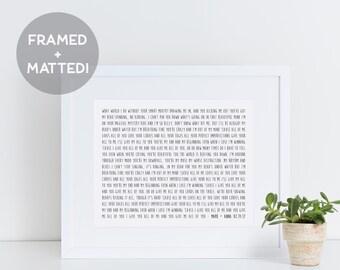 Custom Framed Song Lyrics, Song Lyrics Wall Art, Framed Quotes, Wedding Gift Art, Anniversary Gift Print, Personalized Lyrics Art
