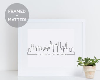 Custom Skyline Print, Framed Skyline Art, New Home Gift, Housewarming Gift, Custom Coordinates, Apartment Decor,  Framed Gift, City Art