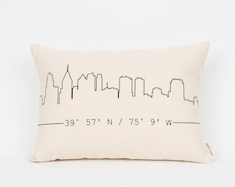 Personalized City Skyline Pillow, Gift for Friend, Housewarming Gift, Gift for Best Friend, New Home Gift, Skyline Art, Custom Coordinates