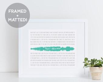Custom Sound Wave Art, Framed Song Lyrics, Song Lyric Art, Song Lyric Gift, Framed Custom Print, Wedding Gift for Husband, Gift for Her