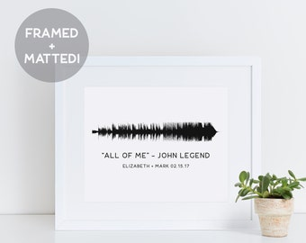 Custom Framed Sound Wave Print, Anniversary Paper Gift, Framed Song Quote, Song Wave Art, Waveform Print Framed, Father's Day Gift