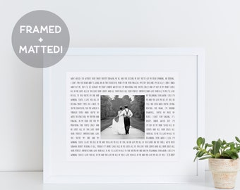 Custom Framed Song Lyrics & Photo Print, First Anniversary Gift, Wedding Gift, Gift for Her, Engagement Gift, Father of the Bride Gift