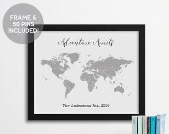 World Push Pin Travel Map, Adventure Awaits, 2nd Anniversary Cotton Gift, Gift for Traveler, Wedding Gift, Anniversary Gift for Her