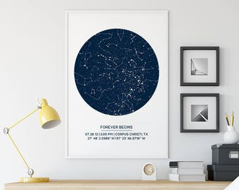 Custom Star Map Poster, Unframed, Constellation Decor, First Anniversary Gift, Wedding Gift, Star Print, Father's Day Gift, Wedding Gift
