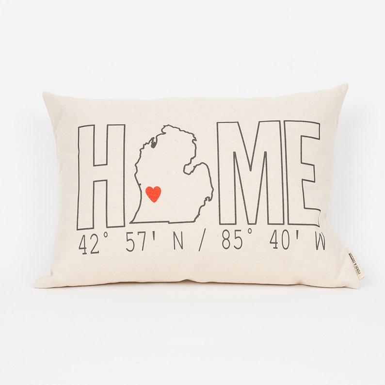 Custom Home Coordinates Pillow Housewarming Gift Realtor image 0