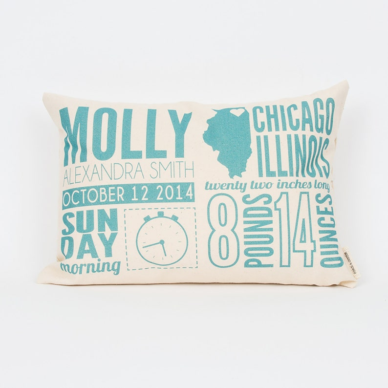 Birth Announcement Pillow Personalized Pillow for Baby New image 0