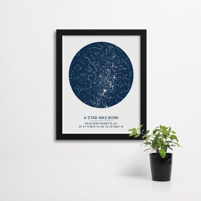 Custom Star Map by Date Poster Available Framed Unique Gift image 0