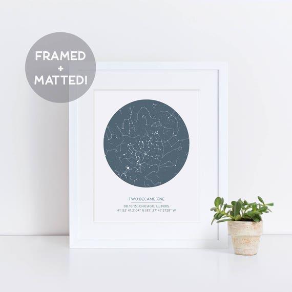 Custom Framed Star Map Night Sky Print Gift for Dad Gift