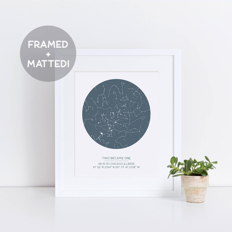 Custom Framed Star Map Night Sky Print Gift for Dad Gift | Etsy