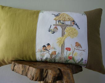 pillow needlepoint cushion cover birds
