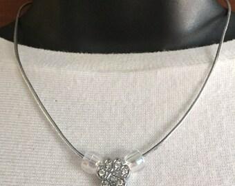 Charm  Pet Paw Print Necklace Crystal Rhinestones Silver Metallic Cord