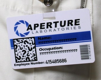 Custom Aperture Laboratories Employee ID Badge Portal Video Game Inspired