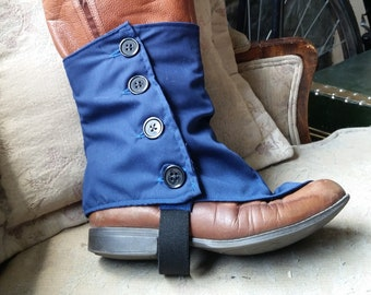 Blue or Red Cotton  Boot Spats for Bicycling, Victorian, Hipster, Steampunk Or Goth