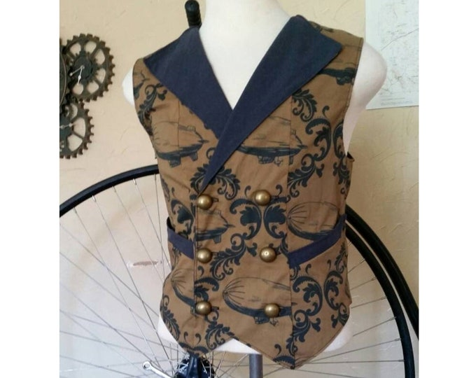 Featured listing image: Custom Made Steampunk Airship Double Breasted Vest with Pockets- Lord and Lady Towers Exclusive Fabric!