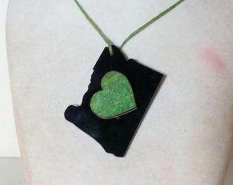 I Love Oregon Pendant- Oregon State Heart! Made In Oregon!
