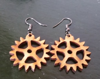 Simple Steampunk Wooden Gear Earrings