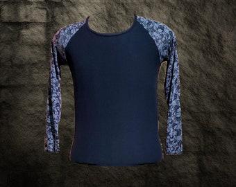 Gothic Baseball Raglan Style Long Sleeve T shirt with Skull Sleeve accent Size M Unisex