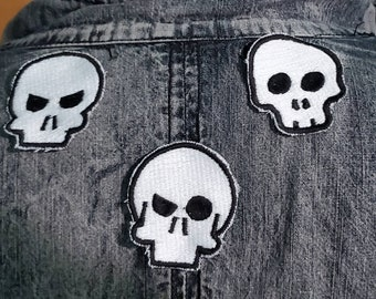 Set of 3Cute Kawaii Skull Patches Sew on style