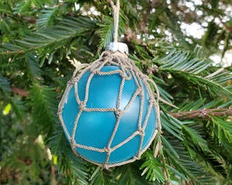 Handmade Coastal Christmas Glass Japanese Style Fishing Float Ornament