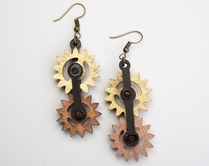 Kinetic Moving Gear Steampunk Earrings! They Really Move!