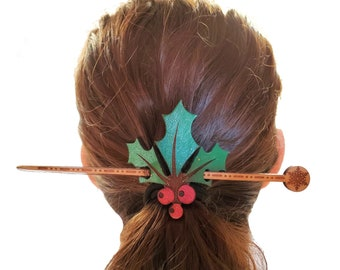 Hand Painted Leather Winter Christmas Holly Hair Pin Pony Tail holder