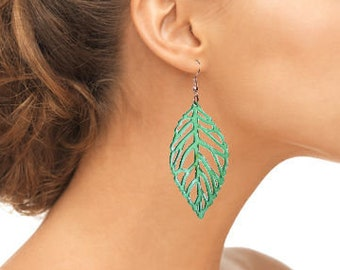 Dangle Transparent Green Leaf Earrings