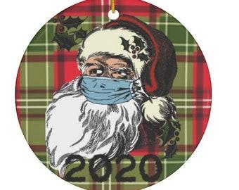 2020 Mask Wearing Santa Christmas Ornament